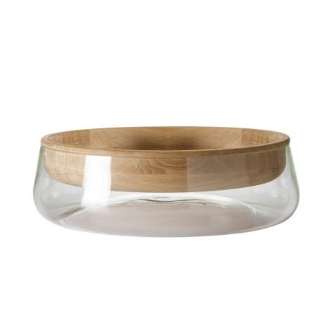 PER/USE Double Bowl Glasschale Large | Eiche schwarz lackiert - Glas klar